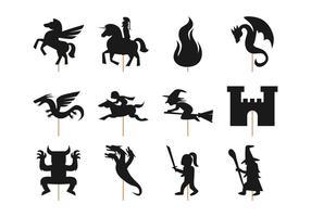 Vecteur de marionnette d'ombre de conte de fées gratuit