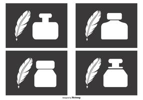 Ink Pots and Quill Icons vector