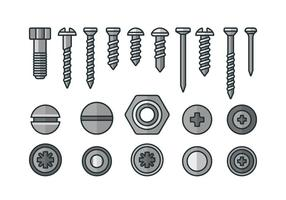 Screws, nuts and rivets icons vector