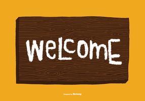 Vector de signe de bienvenue de Woodgrain
