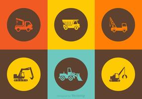 Icônes de camion de construction de vecteur gratuit