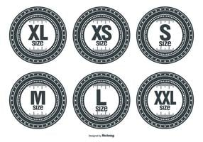 Etichette vettoriali di dimensioni