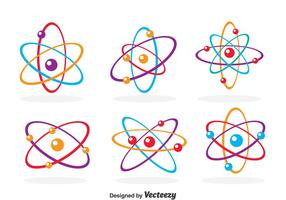 Colorful Atom Icons vector