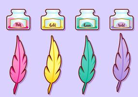 Ink Pot Girly Vector Set