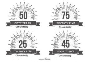 Retro anniversry label set