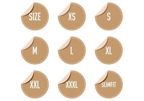 Vetores de etiqueta de tamanho de roupa grátis