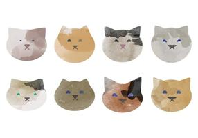 Collection de chats aquarelle vectorielle
