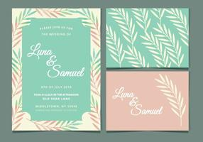 Mint en Perzik Vector Wedding Uitnodigen