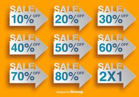 Arrow Shaped Labels With Discounts - Vector Elements