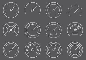 Fuel Gauges Line Icons vector
