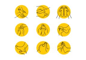 Conjunto de reflexología dibujada a mano