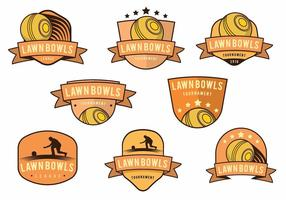 Lawn Bowls Badge Set vector