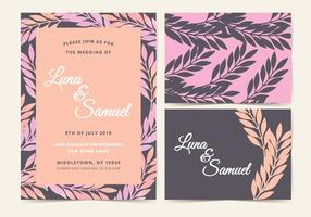 Pink and Brown Branch Vector Wedding Invite