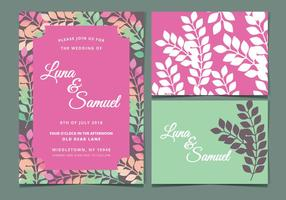 Vector Pink Floral Wedding Invite