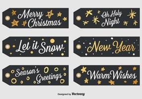 Set Of 6 Black Christmas Labels vector