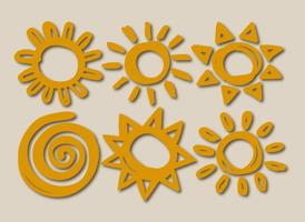 Six Vector Hand-Drawn Suns