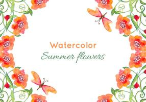 Vector Watercolor Poppies Background