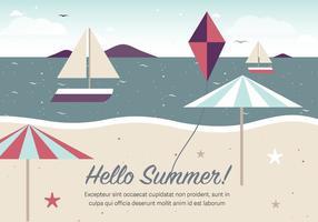 Ilustração vetorial grátis da praia do verão do vintage