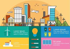 Flat Linear City Vector Infography
