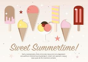 Flat Ice Cream Vector Illustration