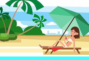 Free Summer Beach Vector Illustration With Character