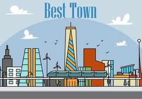 Illustrazione vettoriale di città lineare gratis