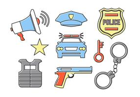 Accesorios de la policía en el vector
