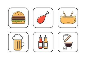 Conjunto de ícones de vetores para piquenique familiar