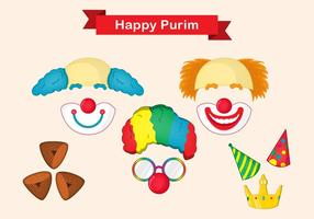 Purim Mask Vector Set