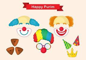 Purim Maske Vektor Set
