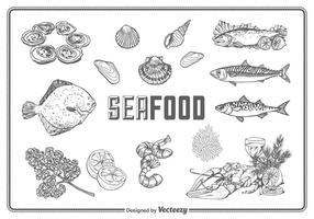 Free Hand Drawn Seafood Set Vector