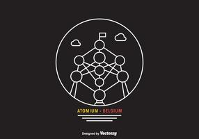 Arte livre da linha do vetor de atomium