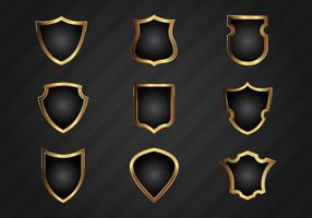 Vector Realistic Gold Shield Shapes Grátis