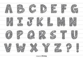 Cute Scribble Style Vector Alphabet