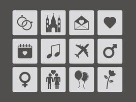 Vecteur libre d'icônes de mariage