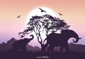Escena de la silueta del elefante vector