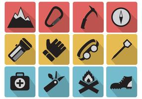 Set icons of camping and mountaineer