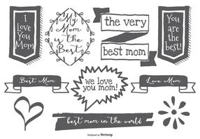 Cute Hand Drawn Mom Labels vector