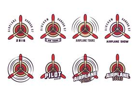 Vector de logotipo de hélice de biplano grátis