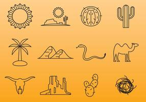 Woestijn lijn iconen