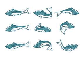 Mackerel Fish Icons vector