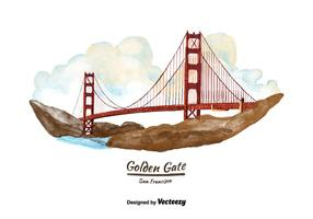 San Francisco Golden Gate Bridge Watercolor Vector