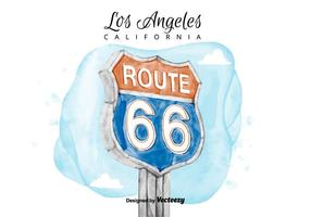 Route 66 Sign Watercolor Vector