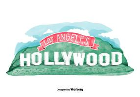 Vector de aquarela de Hollywood Sign Grátis