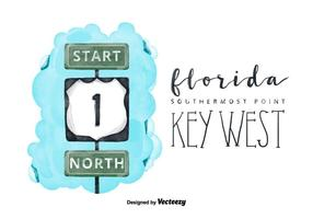 Free Florida Watercolor Key Vector