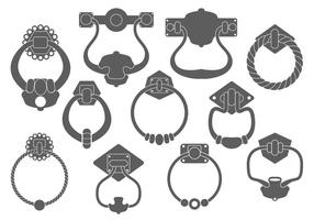 Door Handle Silhouettes Vector Set