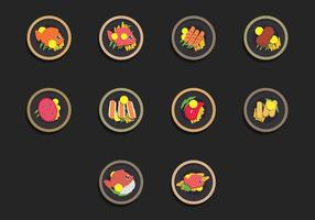 Fish Fry Icon Set de alimentos