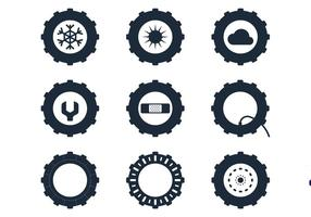 Tractor Tire Icons vector