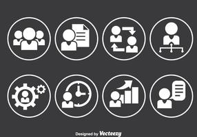 People Working Circle Icons