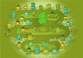 Scène vectorielle de petite ville